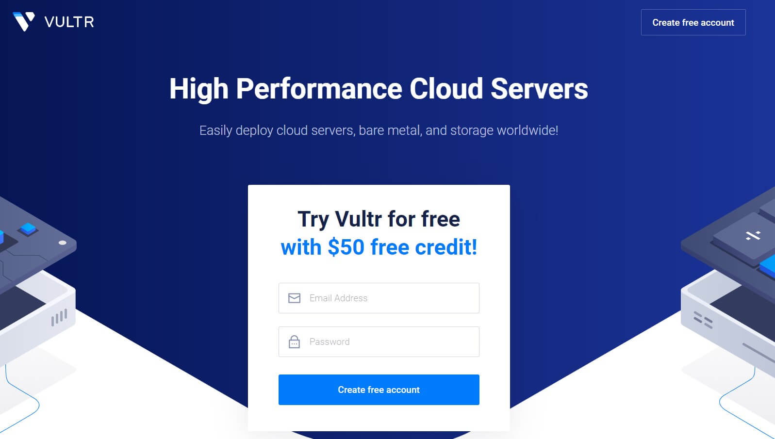 Try Vultr for free with $50 free credit!