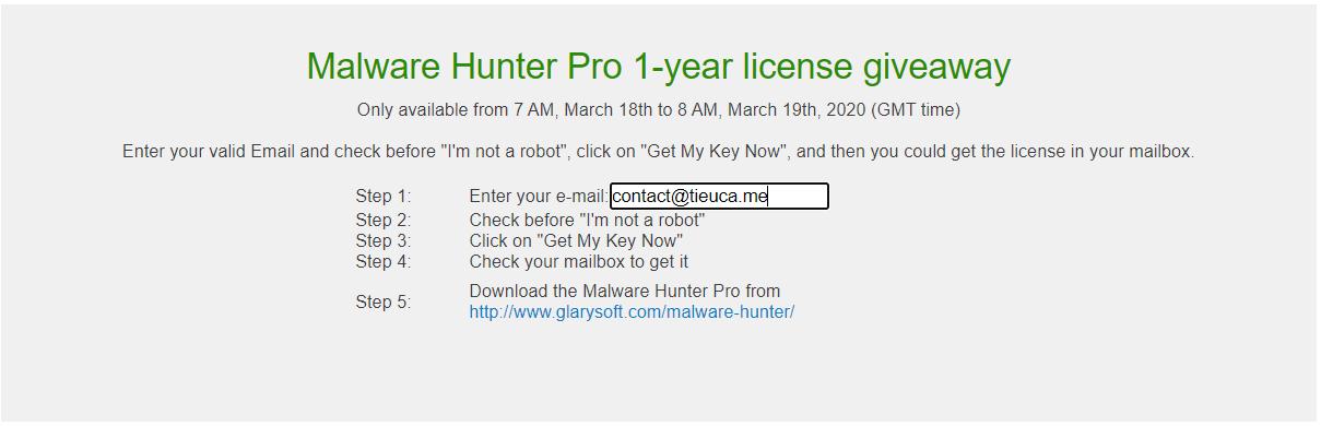 Miễn phí 1 năm Malware Hunter Pro