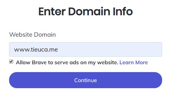 Brave - Enter doamin info