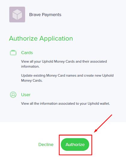 Kết nối Brave & ví Uphold 2