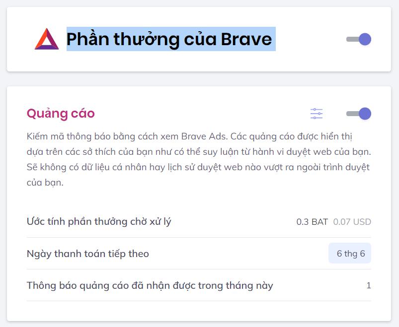 Phần thưởng của Brave