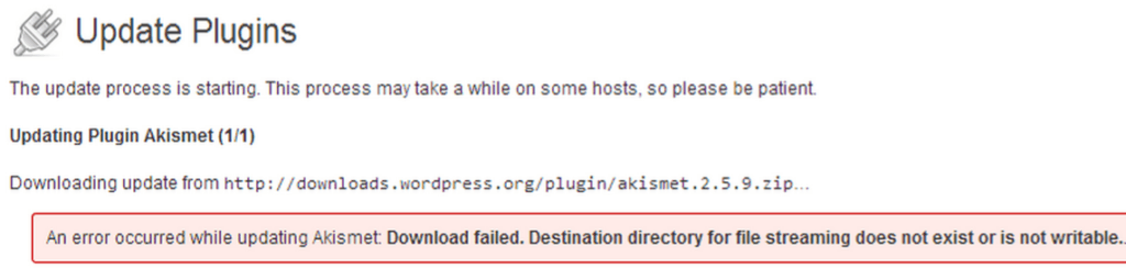 Destination directory for file streaming does not exist or is not writable