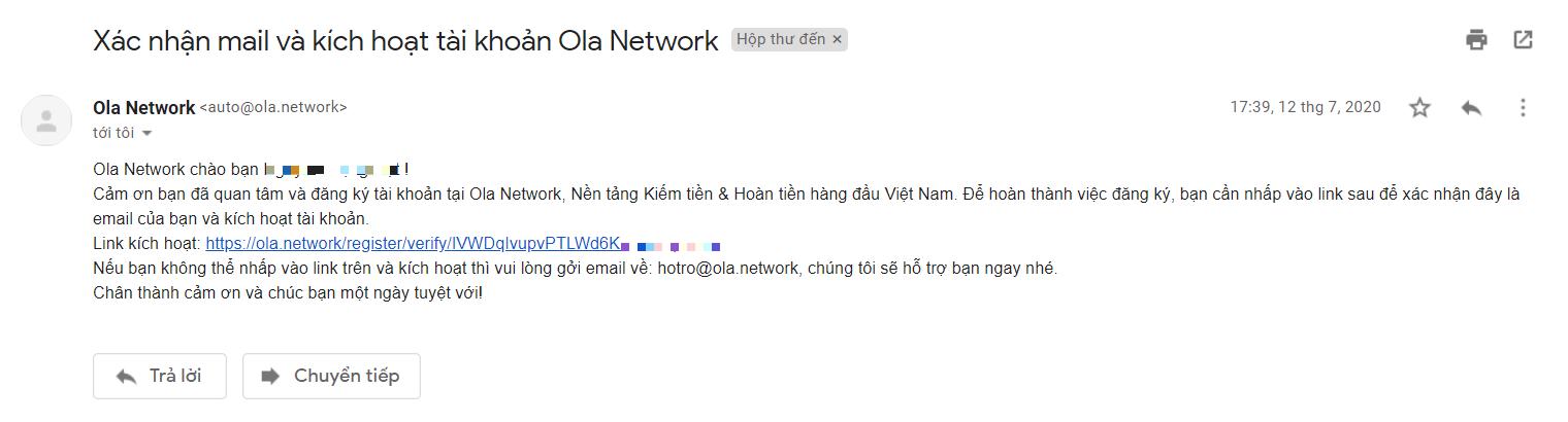 Xác nhận mail và kích hoạt tài khoản Ola Network